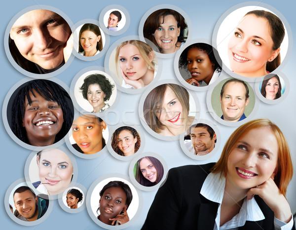 Stock fotó: Közösségi · háló · üzletasszony · illusztráció · boldog · fiatal · barátok