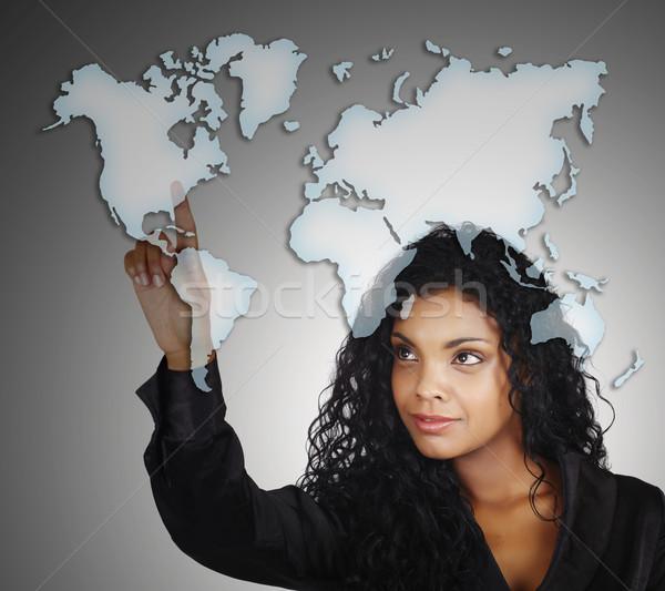 красивая женщина карта женщину счастливым Мир рабочих Сток-фото © lubavnel