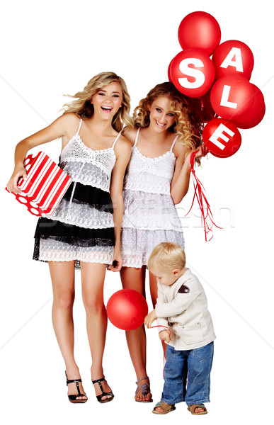 Foto stock: Dois · meninas · pequeno · menino · venda · assinar
