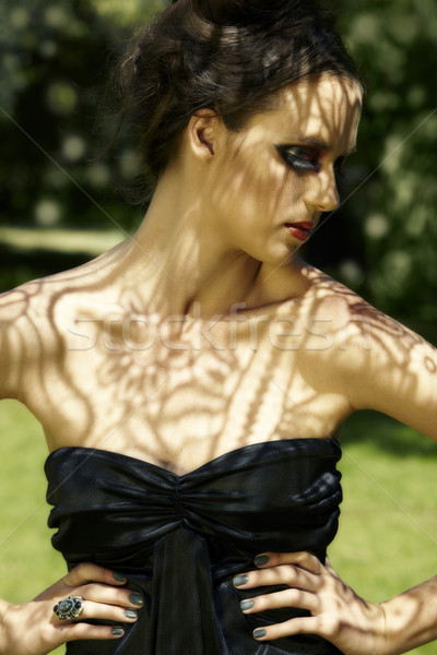 beautiful woman with lace shadows Stock photo © lubavnel