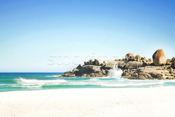 Stock fotó: Tengerpart · hullámok · napos · idő · dél-afrikai · nagy · kék · ég