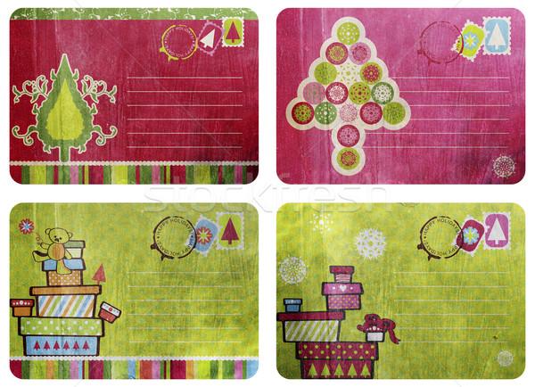 Vintage zabawy christmas karty kolaż cztery Zdjęcia stock © lubavnel