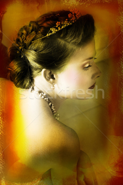 picture of bride on dark faded brown painted sheet Stock photo © lubavnel
