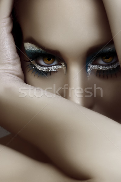 Belle goth maquillage belle femme sombre visage Photo stock © lubavnel