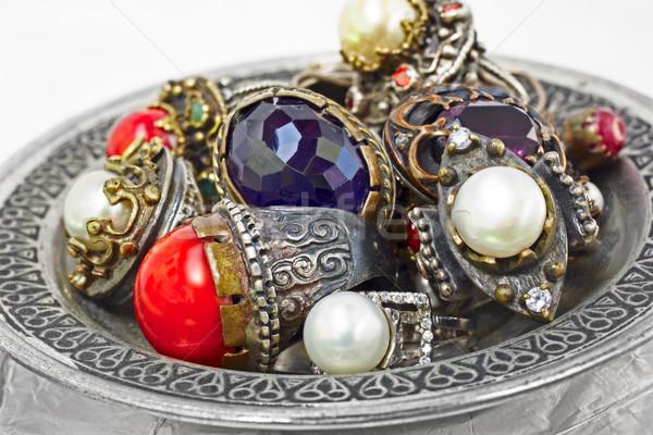 турецкий серебро кольцами многие ручной работы деревенский Сток-фото © lubavnel