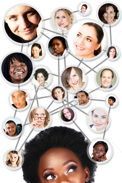 African woman social network diagram Stock photo © lubavnel