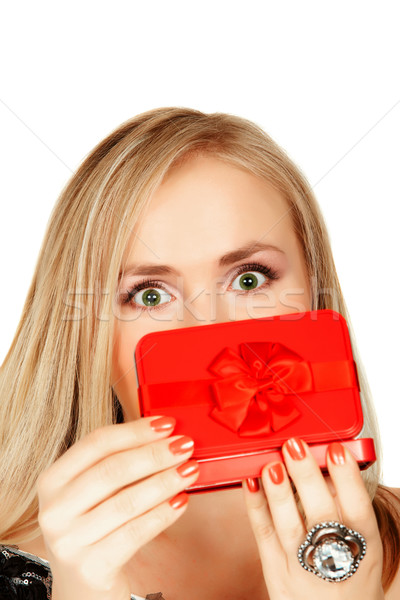 Stock photo: red gift box surprise