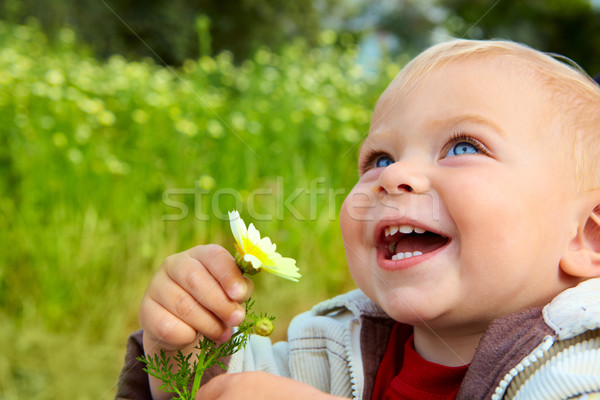 small baby laughing with daisy Stock photo © lubavnel