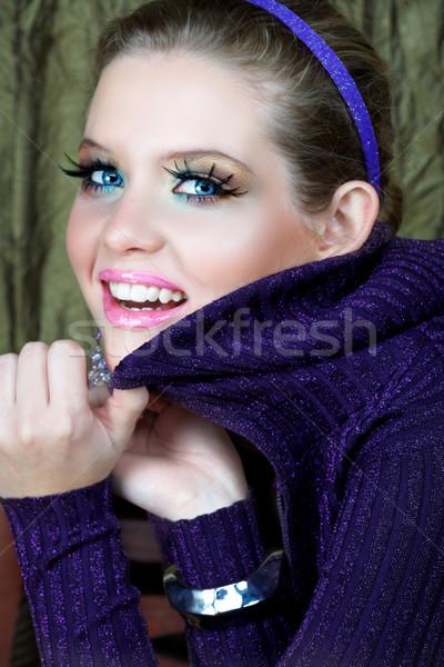Blond kobieta fioletowy piękna kobieta długo moda Zdjęcia stock © lubavnel