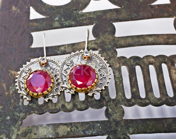 Turkish Ottoman silver earrings with ruby. Stock photo © lubavnel