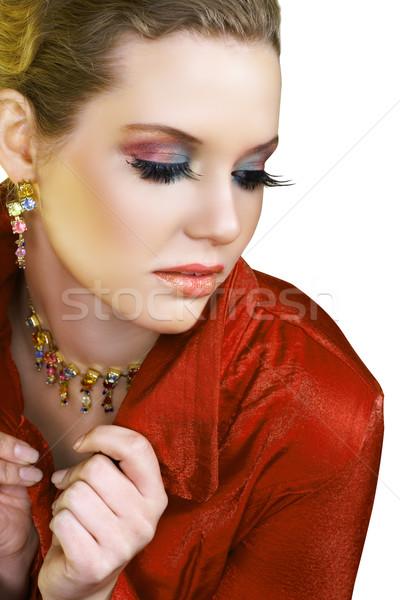 Loiro mulher vermelho bela mulher longo moda Foto stock © lubavnel