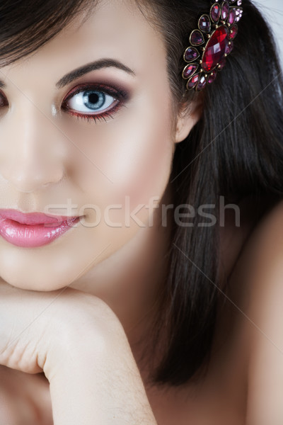 Pink make-up woman. Stock photo © lubavnel