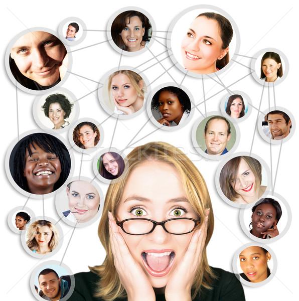 Gritando mulher jovem óculos rede social amigos Foto stock © lubavnel