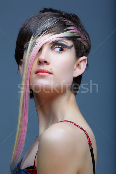 Emo girl with piercings and fringe. Stock photo © lubavnel