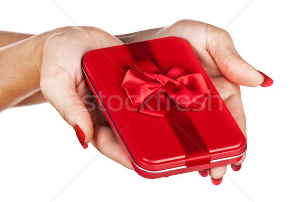 red gift box in woman's hands Stock photo © lubavnel