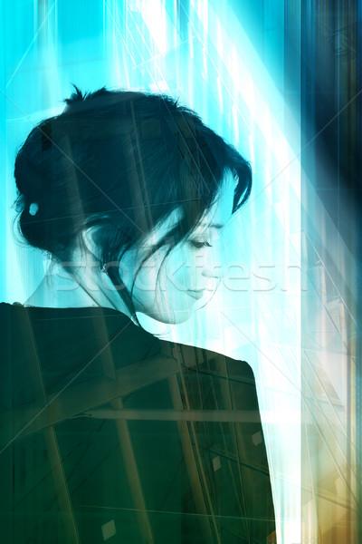 üzletasszony ipari nő puha haj fekete öltöny Stock fotó © lubavnel