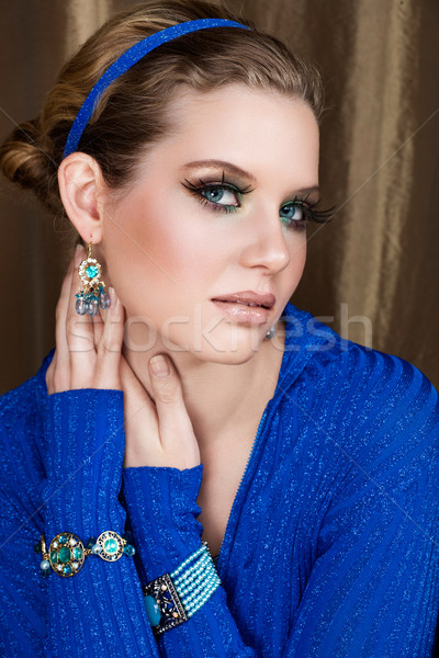 женщину макияж синий металлический Top Сток-фото © lubavnel