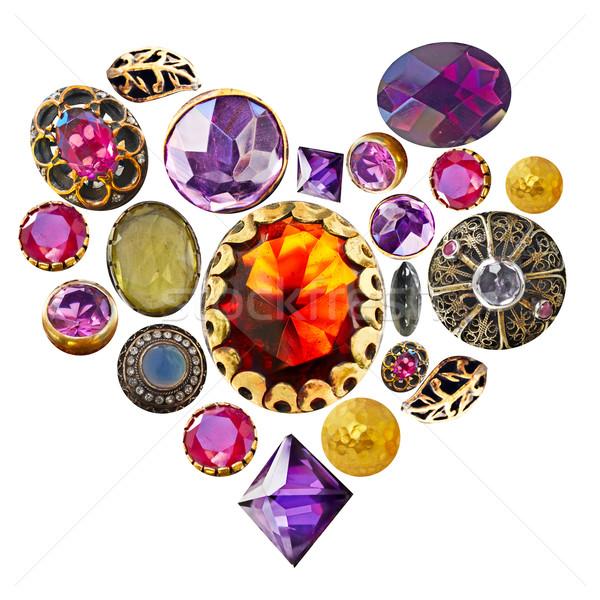 Kamień szlachetny serca złota brąz odizolowany kształt serca Zdjęcia stock © lubavnel