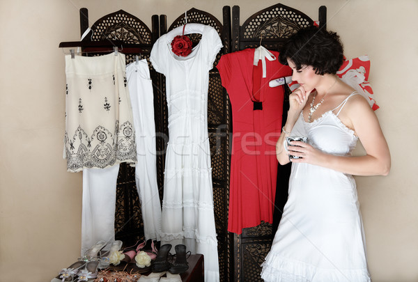 Woman with shoes and clothes. Stock photo © lubavnel