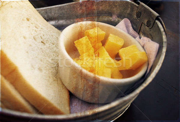 Házi készítésű kenyér vaj cink tál vidék Stock fotó © lubavnel