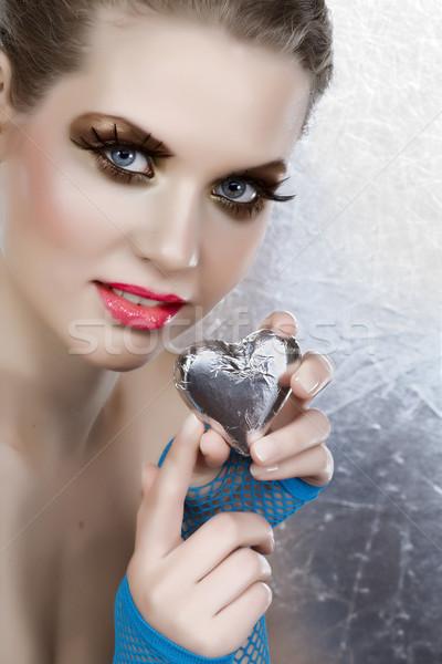 Gyönyörű nő szív ezüst rózsaszín ajkak 16 bit Stock fotó © lubavnel