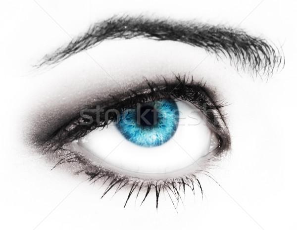 Kadın hüzün göz mavi uzun Stok fotoğraf © lubavnel