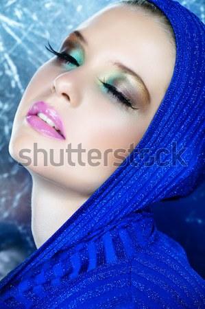 Nő hosszú szempilla kék portré gyönyörű nő Stock fotó © lubavnel