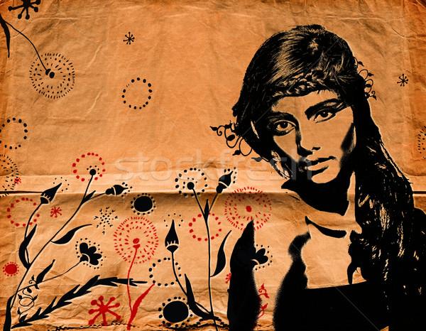 graffiti woman on wall Stock photo © lubavnel