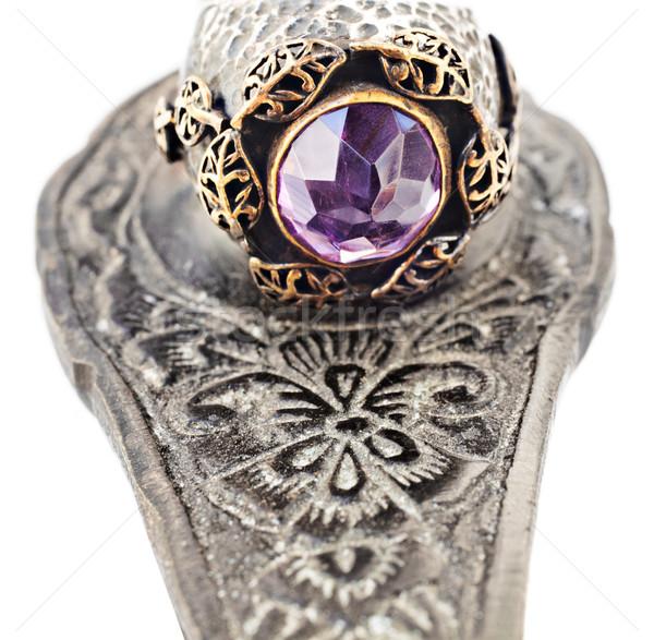 турецкий кольца серебро золото Vintage аметист Сток-фото © lubavnel