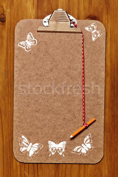 Vlinders lege houten witte paneel Stockfoto © lubavnel