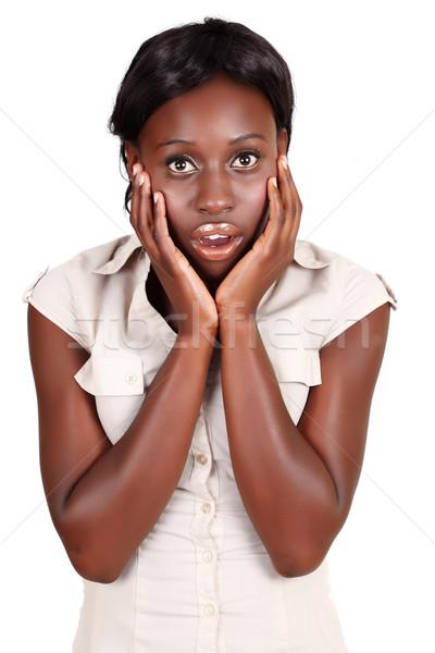 Afrikai üzletasszony rázkódás fiatal afroamerikai tart Stock fotó © lubavnel