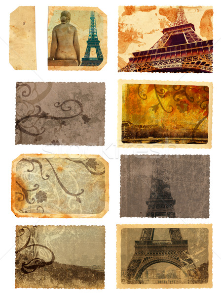 grunge cards from Paris Stock photo © lubavnel