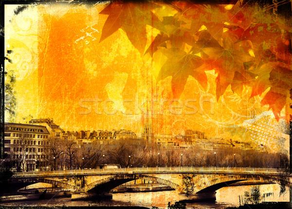 Grunge Paris bridge and leaves background Stock photo © lubavnel