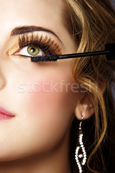 woman with long eyelashes and mascara Stock photo © lubavnel