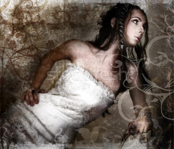 Grunge bride. Stock photo © lubavnel