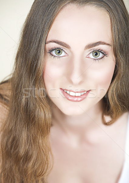 Girl with long hair and green eyes. Stock photo © lubavnel