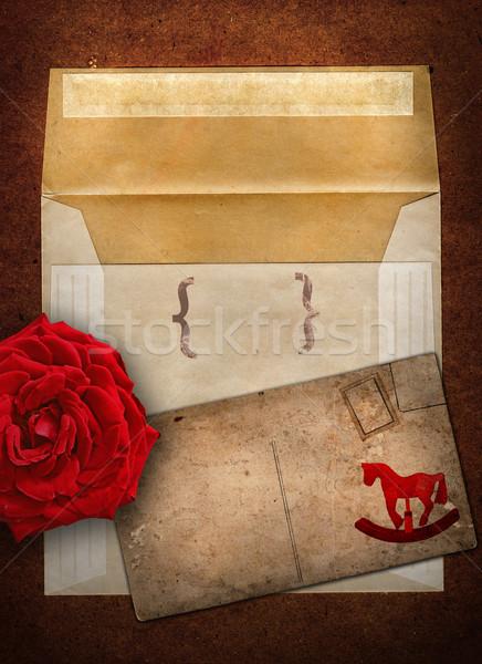 Rose enveloppe carte grunge cheval à bascule Photo stock © lubavnel