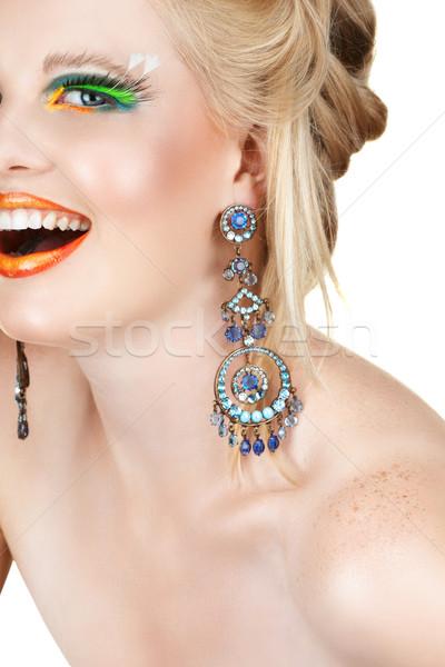 Laughing blond with eyelashes. Stock photo © lubavnel