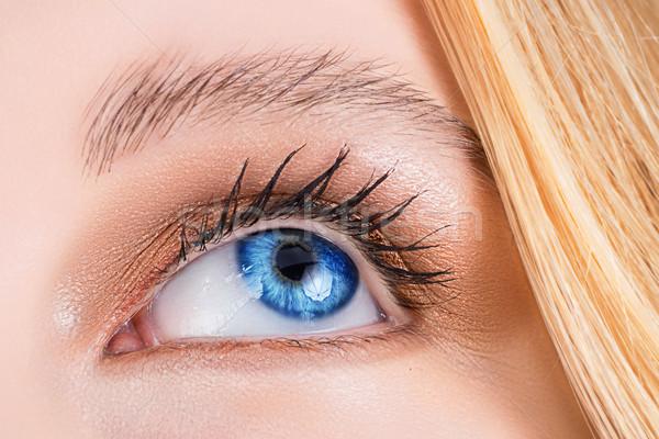 Blauw oog vrouw jonge hoofd Stockfoto © lubavnel
