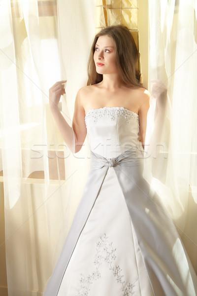 Piękna młodych oblubienicy okno naturalne światło długo Zdjęcia stock © lubavnel
