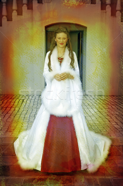 beautiful bride in long silk coat  Stock photo © lubavnel