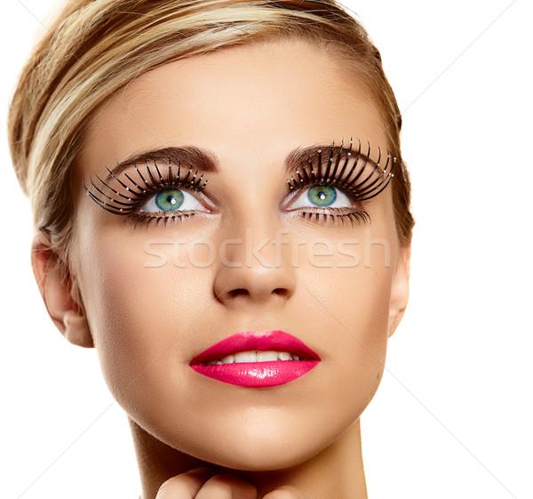 Divat hosszú gyönyörű fiatal szőke női arc Stock fotó © lubavnel