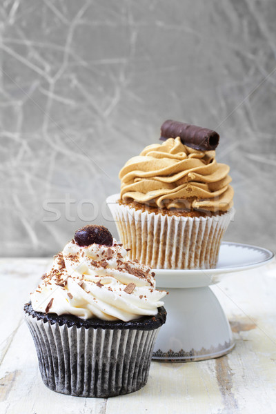 Coffee and chocolate cupcakes. Stock photo © lubavnel