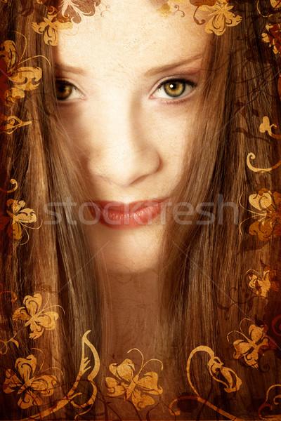 Grunge brunette woman Stock photo © lubavnel