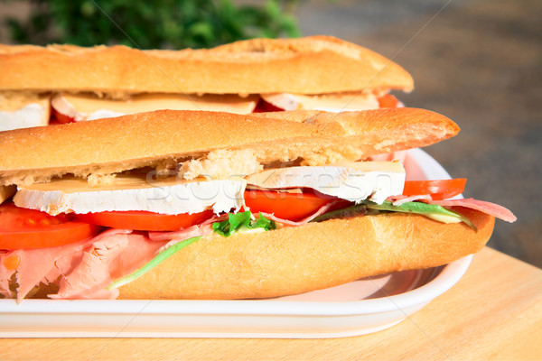 Baguette with cheese and ham Stock photo © lubavnel