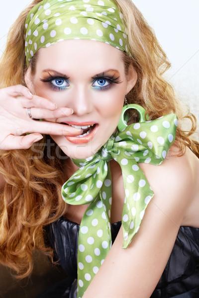 Retor woman in green Stock photo © lubavnel