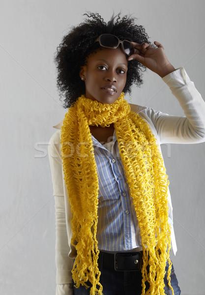 Fiatal dél-afrikai nő farmer citromsárga sál Stock fotó © lubavnel