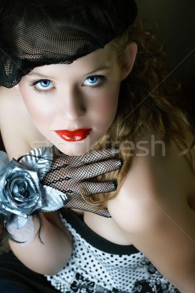 красивой черный берет красные губы женщину Сток-фото © lubavnel