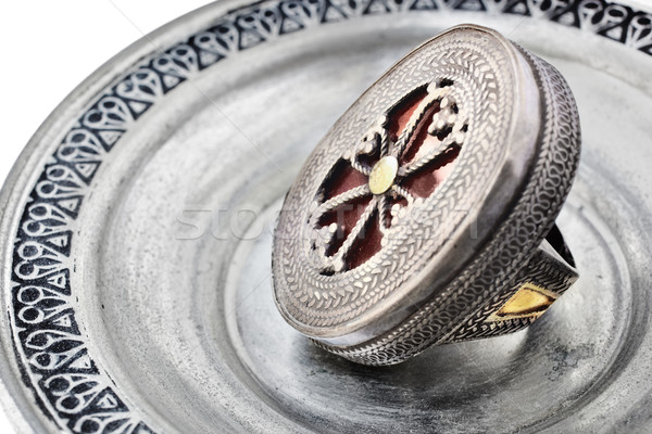 Antique ring with cross symbol Stock photo © lubavnel