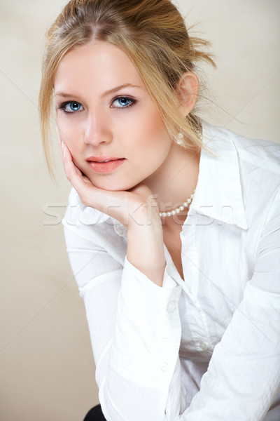 Businesswoman in white shirt . Stock photo © lubavnel
